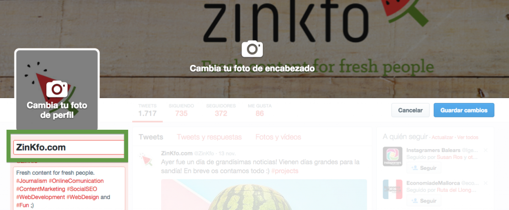 Modificar nombre twitter