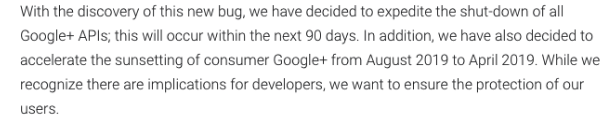 Google+ consumer Google+ from August 2019 to April 2019.